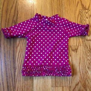 Ruffle butts pink polka dot swim top size 6-12 mo